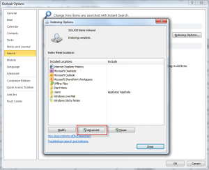how to fix indexing problem in outlook 2007