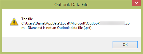 Error message that ost is wrong
