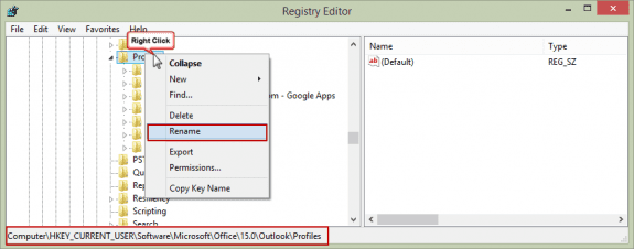 Outlook 2013's profile key