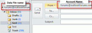 Account and file names in Outlook