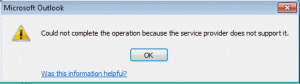 Can't complete the operation error
