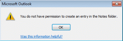 Do not have permission to create this item error