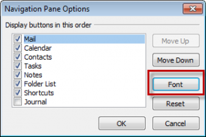 Change Folder list font size in Outlook 2010