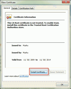 Install the self-issued certificate